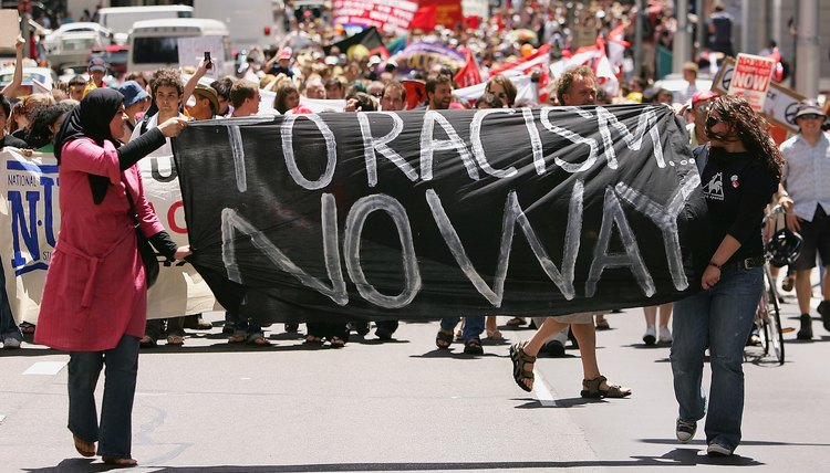 Over 1,000 protesters march for peace during an anti-racism rally in Sydney, Australia, in December 2005.