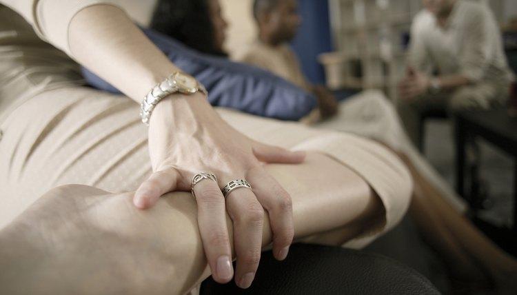 Woman's hand on leg