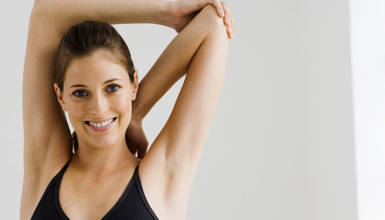 Woman stretching arms