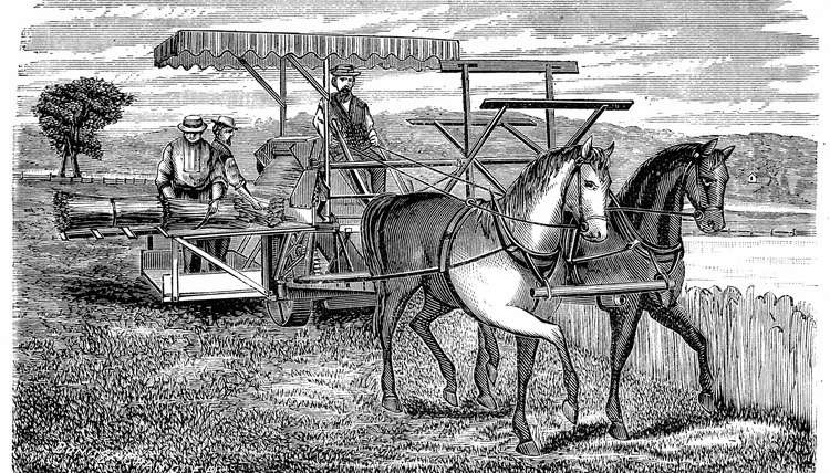 The horse-drawn reaper invented by Cyrus McCormick revolutionized farming.