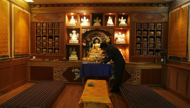 A Buddhist altar, like this example from the Tibetan tradition, can easily be set up in the home.