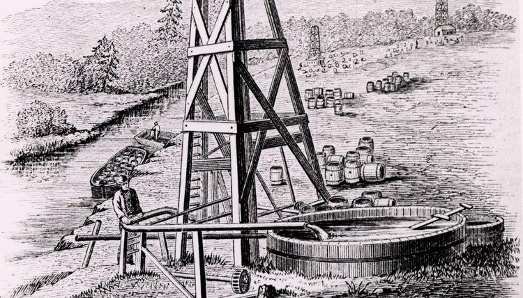 Edwin Drake built the first modern oil derrick near Titusville, Penn.