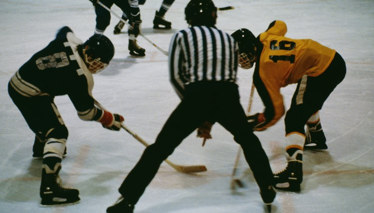 Hockey players face-off