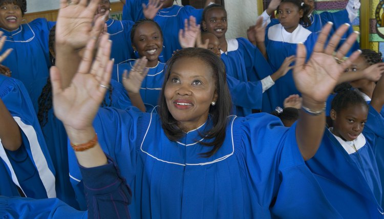 Gospel choir inciting the people.