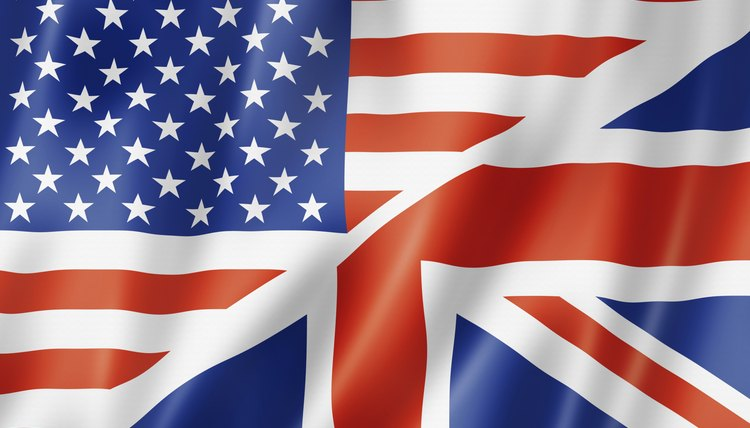 British and American flags.