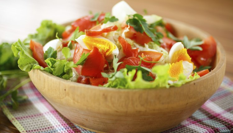 fresh salad with cabbage and red fish