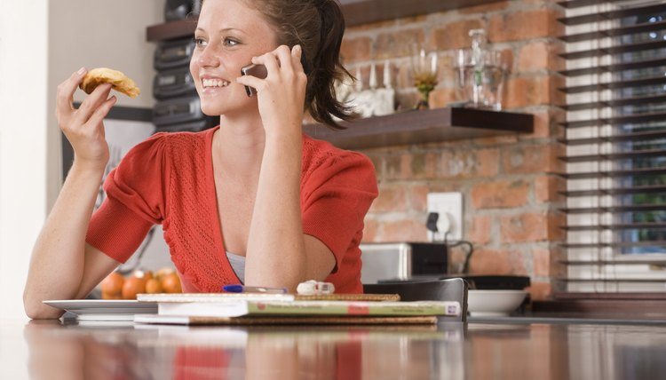 Let her grab some grub and have date night over the phone.