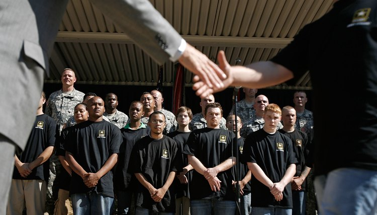 New recruits prepare to be sworn into the U.S. Army