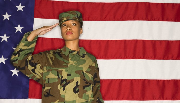 Army woman saluting in front of flag.