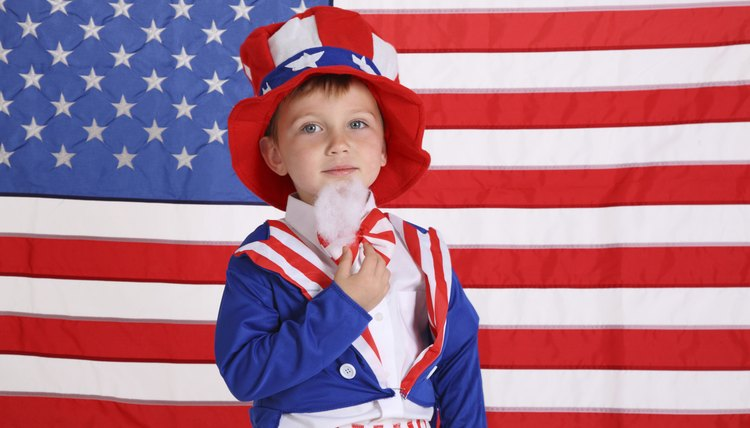 Boy wearing Uncle Sam costume.