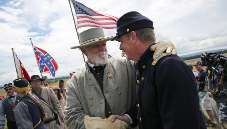 Performers re-enact the United States Civil War on its 150th anniversary date.
