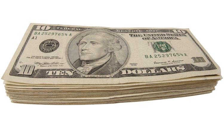 Ten dollar bills.