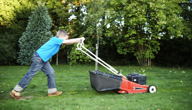 Boy (7-9) pushing lawnmower, side view