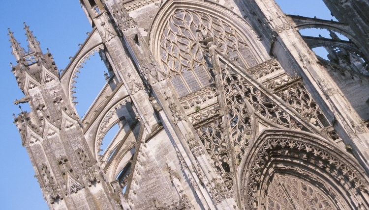 Medieval cathedrals were characterized by Gothic arches and flying buttresses.