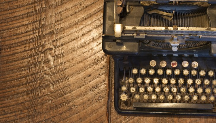 Antique typewriter on wooden surface