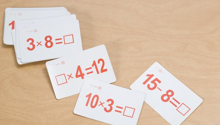 Flash cards are useful for review of math facts.