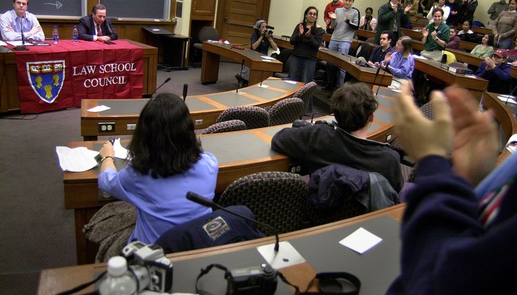 Students attend a Law School Council meeting at Harvard Law School.