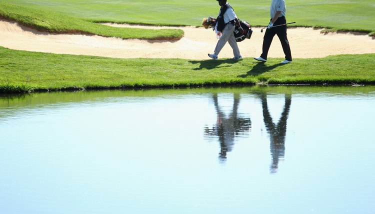 Tour player Ernie Els walks with his caddy during the 2011 South African Open Championship.