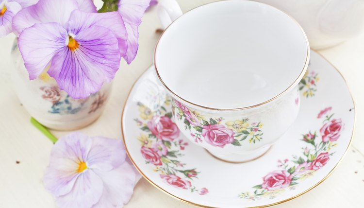 China teacup with flowers.