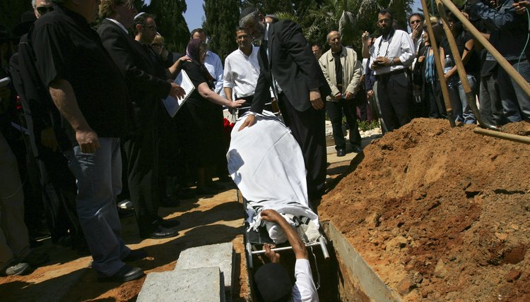 A Jewish burial is attended by family and friends.