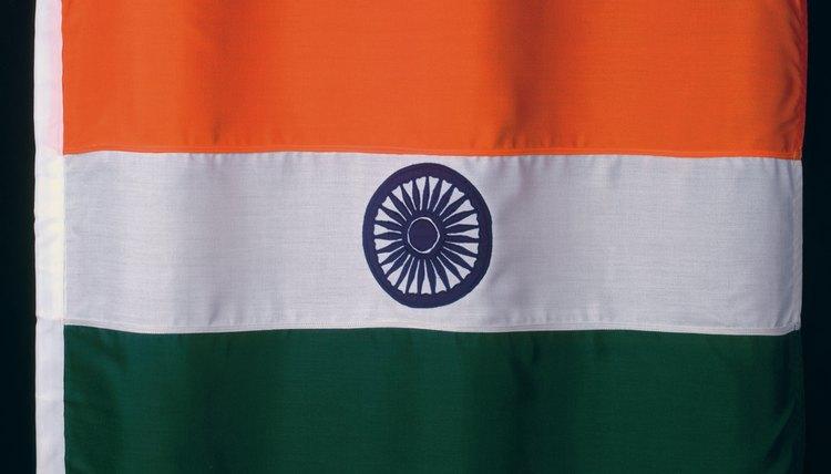 The Indian flag displays a Buddhist symbol attributed to Ashoka Maurya.