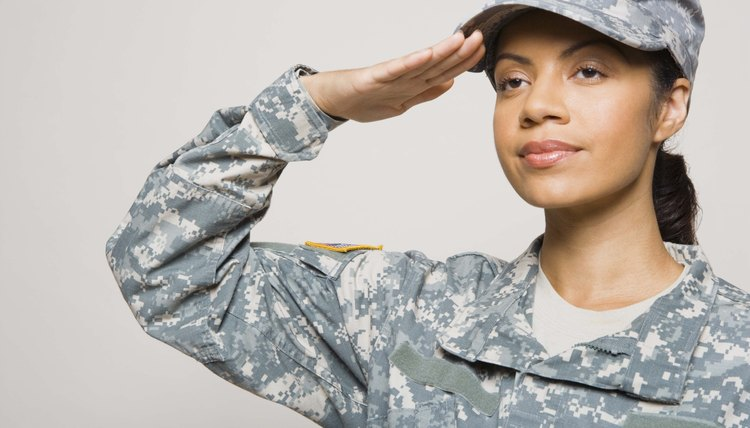 Soldier saluting in uniform