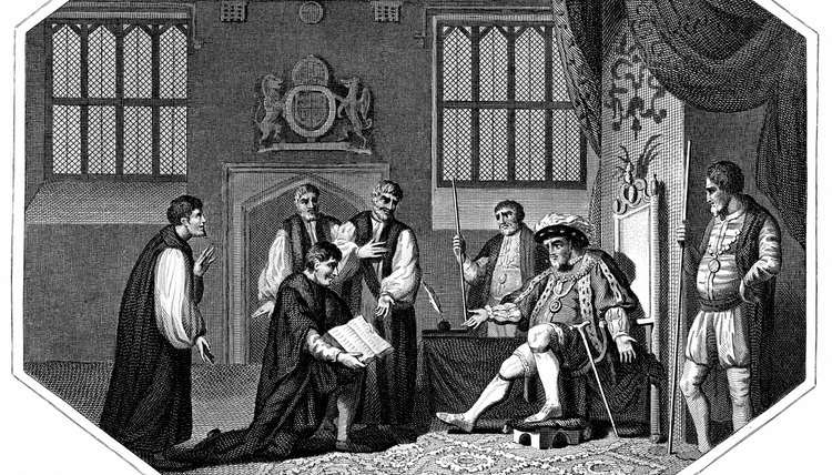 The Anglican religion split from Catholicism under King Henry VIII.