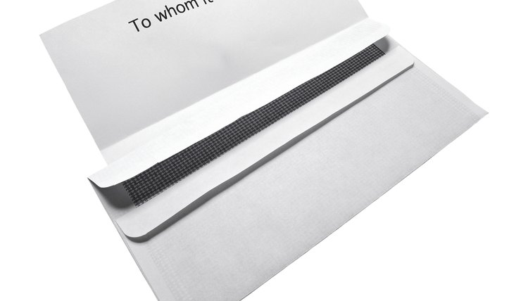 close-up of an open letter with an envelope