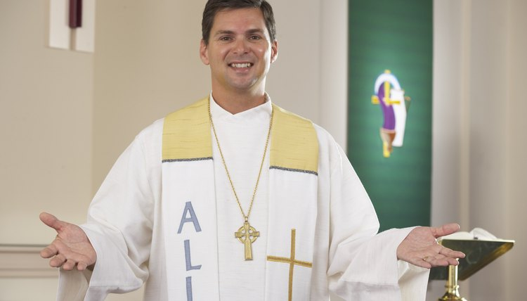 Priests don white vestments during feasts of the Virgin Mary.