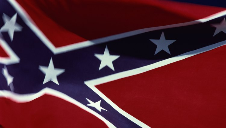 Confederate flag flying, close up