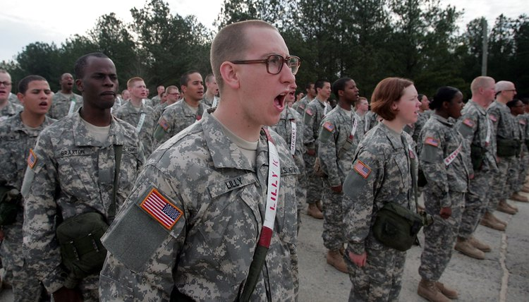 Soldiers prepare for teamwork drill during Army basic training at Fort Jackson