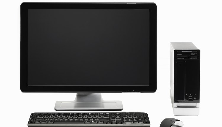 Computer with flat screen and mouse