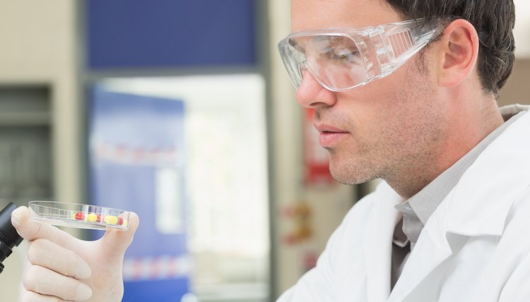 Male scientist analyzing pills in lab