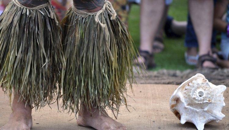 Ceremonial leggings at traditional Hawaiian luau.