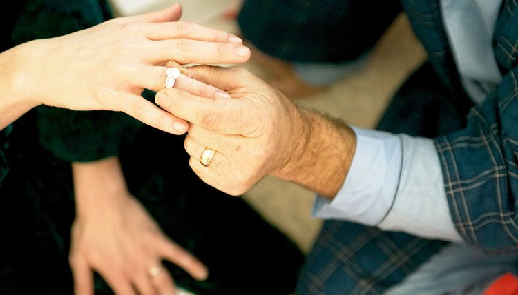man putting ring on new wife
