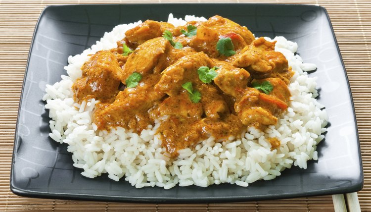Most Indian dishes feature rice and sauce.