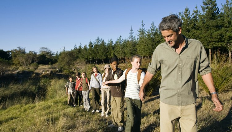 Teacher and students hiking