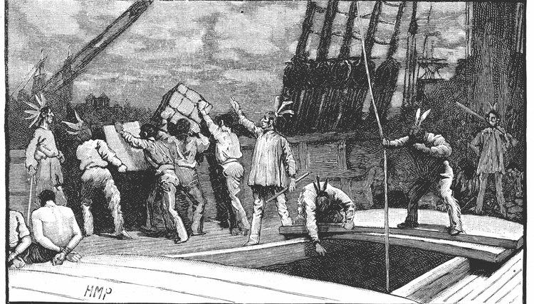 The Boston Tea Party, depicted here, caused Britain to pass the Coercive Acts, which led to the formation of the First Continental Congress.
