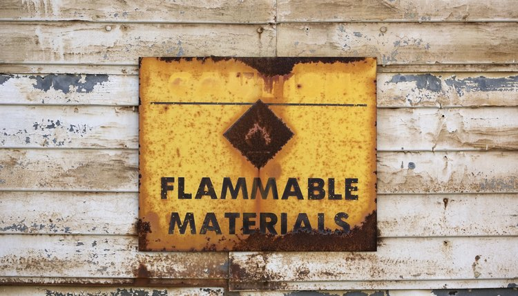 Sign warning of flammable materials