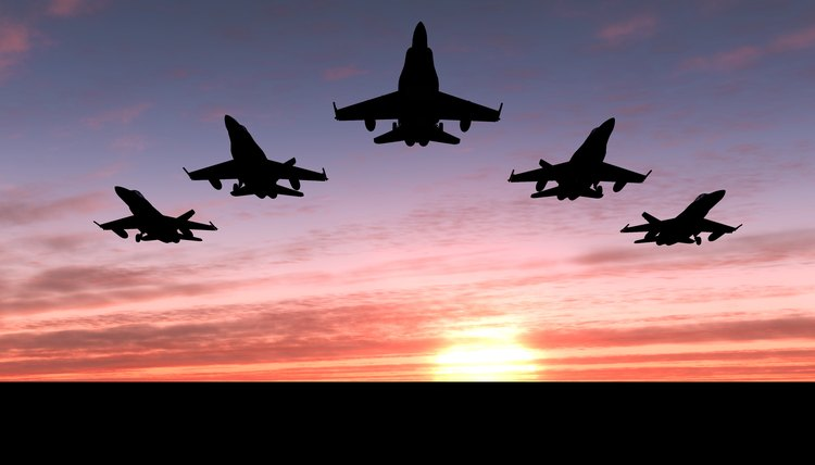 Five jets flying at sunset.