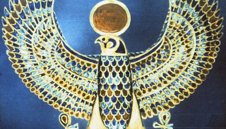 A depiction of Horus, the falcon-headed Egyptian god of the sky.