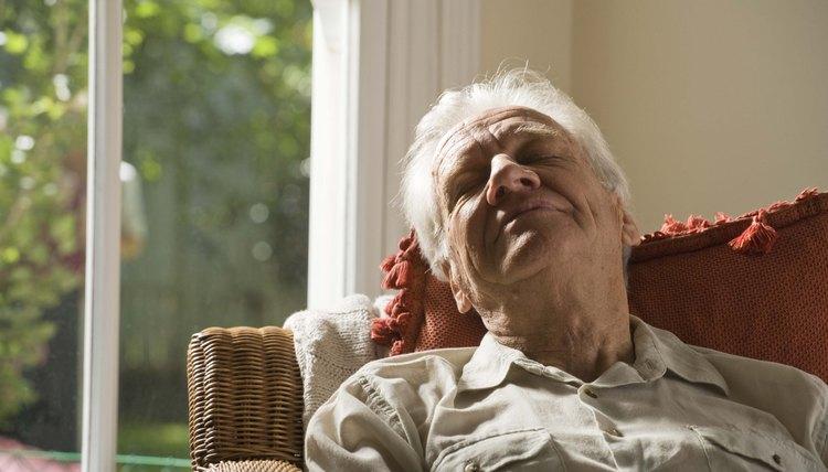 Senior man napping