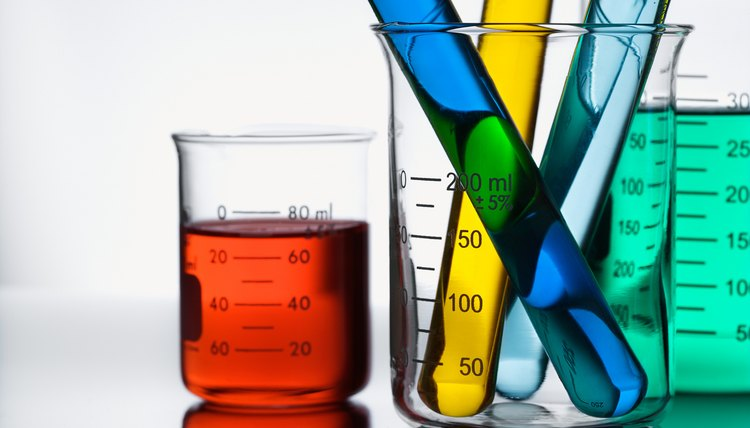 Beakers and test tubes with colorful liquid