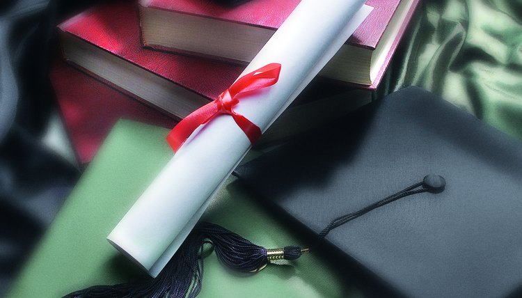 Photo, diploma, mortarboard and books, Color, Low res