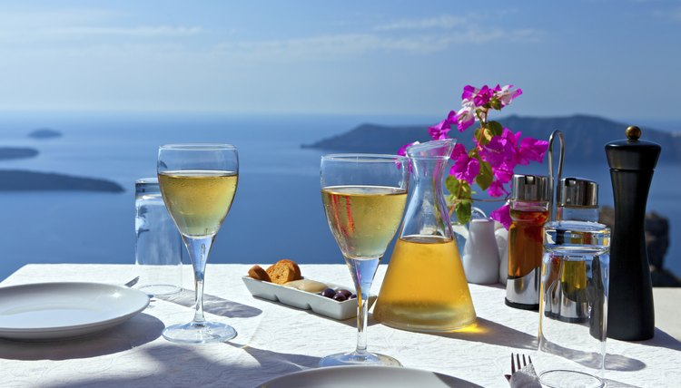 Add wine glasses to your Greek table for lunch and dinner.