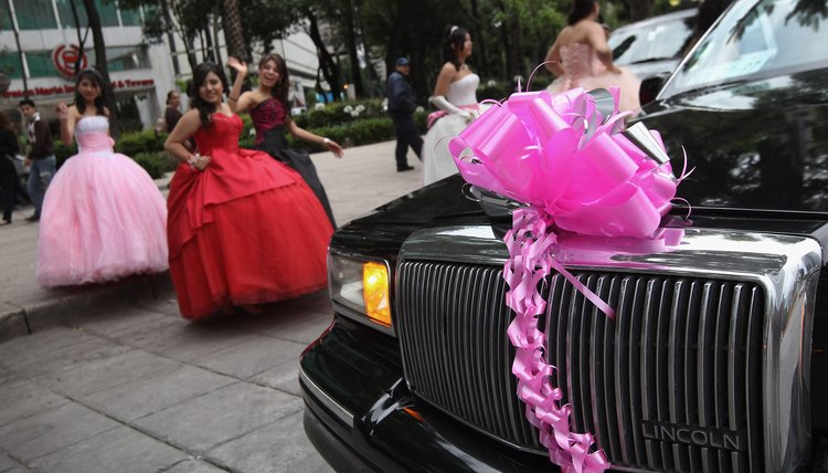 Quinceanera girls in Mexico walk to limousine