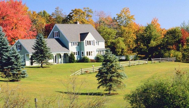 Farmhouse during autumn