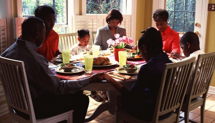 Family in prayer.