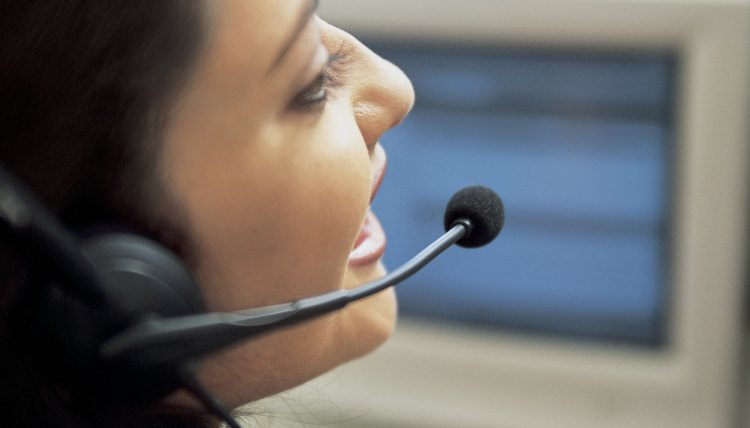 Customer service agent talking on headset