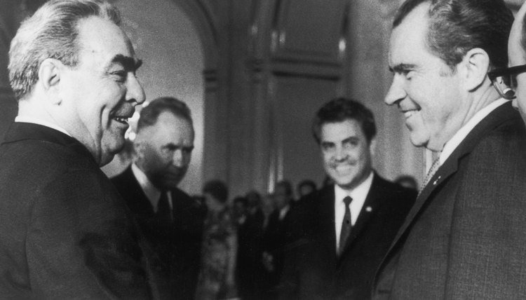 President Richard Nixon meets Russian President Leonid Brezhnev in Moscow after the Strategic Arms Limitation Talks, 31st May 1972.
